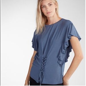 2/$20 NWT Express Blue FrontTie Ruffled Shirt (S)